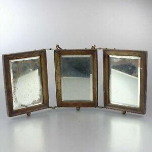 Antique Tri-fold  Mirror Vanity Shaving wood beautiful Victorian 3 Panel Beveled
