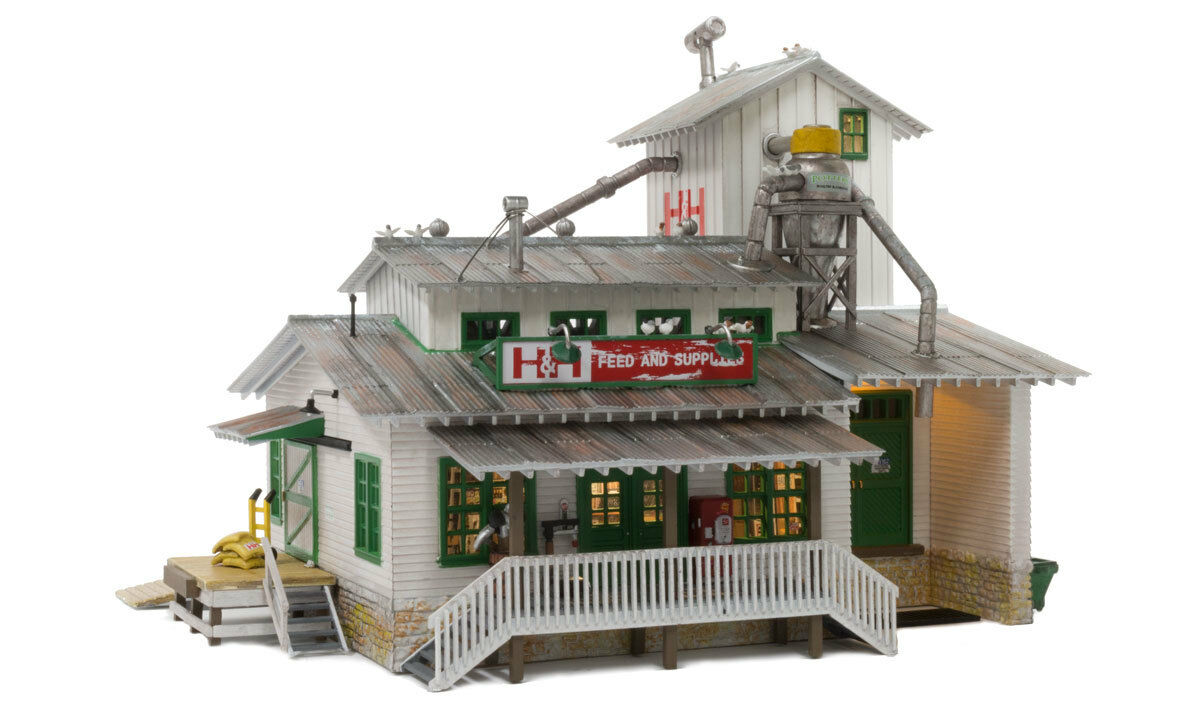 Woodland Scenics BR5059, HO Scale, Built & Ready w/ LED Lights, H&H Feed Mill