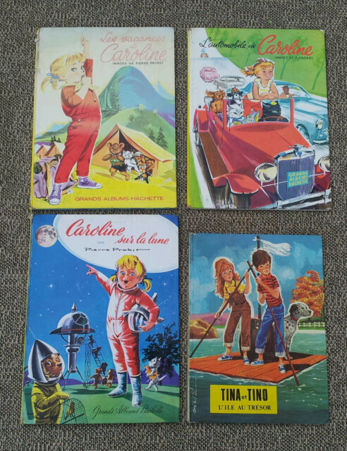Ancien lote de 4 libros pour enfants Tina y Tino, Caroline old french book