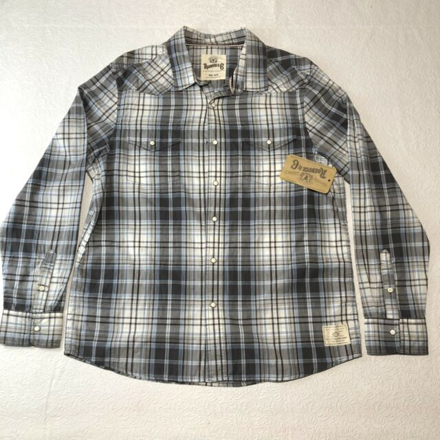 Vintage Sears Roebuck & Co Shirt Mens XL Multicolor Plaid Long Sleeve Pearl Snap
