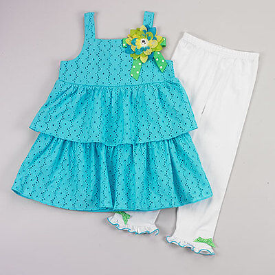 Girl 4-6 Aqua Blue Eyelet Lace Flower Tank Tunic Dress White Legging Outfit Set