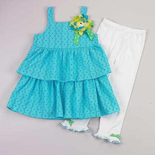 Girl 4-6 Aqua Blue Eyelet Lace Flower Tank Tunic Dress White Legging Outfit Set