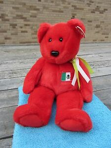 """TY Beanie Buddy - OSITO Red BEAR Mexican Flag 14"""" long, 9"""" sitting - Tags 1999"""