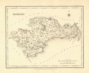County Waterford Antique Map For Lewis By Creighton Dower