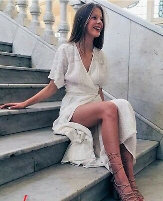 "Zara "" Sold Out "" White Long Crossover Dress Size S UK 8 BNWT"