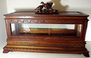 INFANT-Child-Viewing-Casket-coffin-victorian-FIGURAL-top-cherry-wood-amp-glass