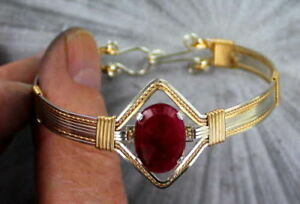 Red-Ruby-Bracelet-in-Sterling-Silver-14kt-Rolled-Gold-Wire-Wrapped-Size-6-to-9