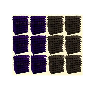 96-pc-Acoustic-Foam-Pyramid-PURPLE-and-GREY-12x12x2-034-Studio-Soundproofing-tile