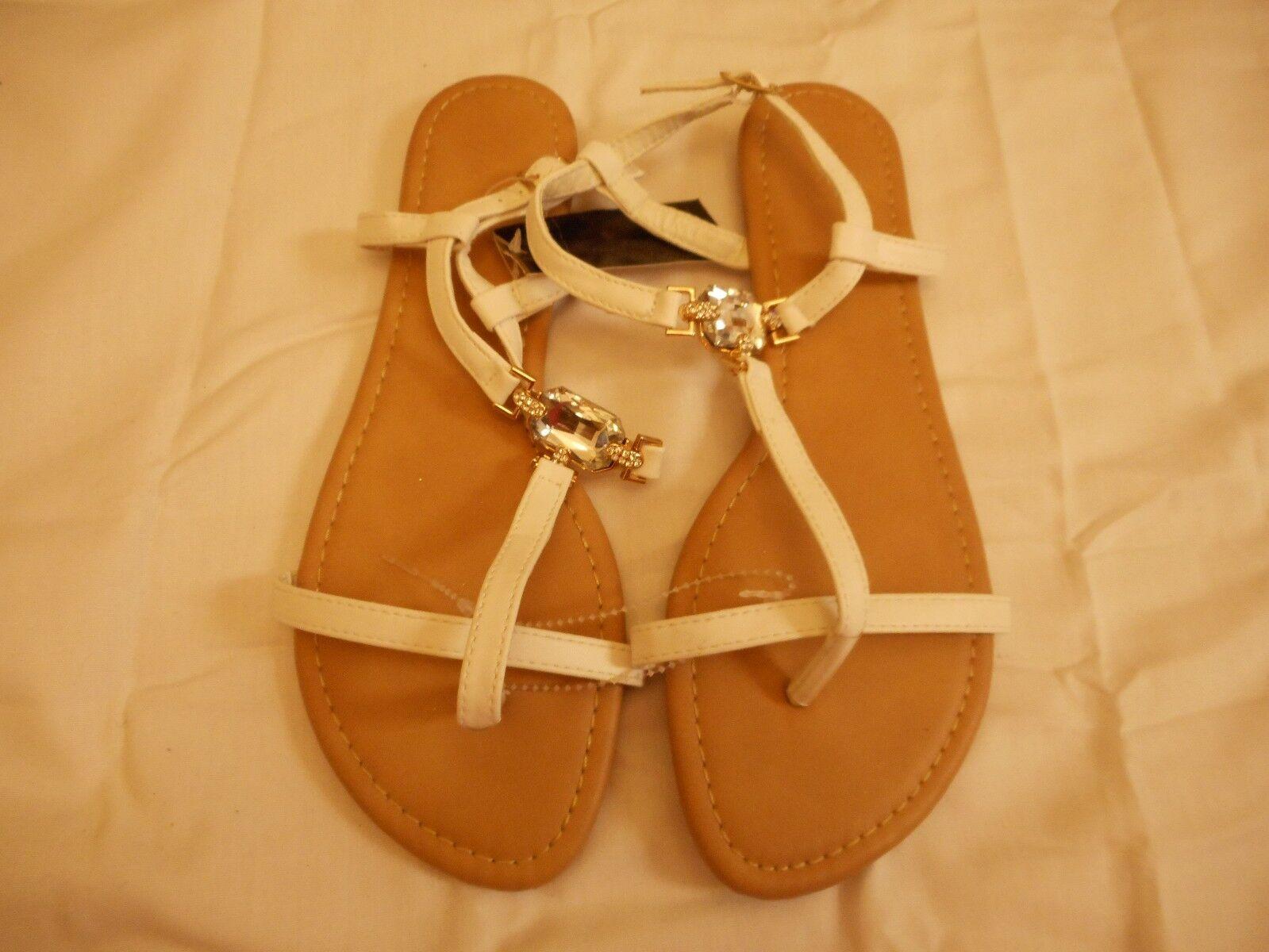 Women's Mixit  Single Stone Strappy Sandals White  Mixit Size 8 NEW 2fb06e