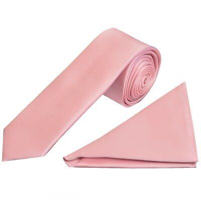 Bescheiden Hand Made Plain Pink Satin Boys Tie And Pocket Square Set Kids Wedding Tie Hanky