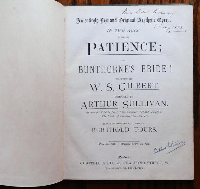 Patience Gilbert & Sullivan opera piano score music book Berthold Tours 1880s