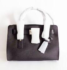 NWT Michael Kors Hamilton EW Saffiano Leather Medium Satchel ~ Black/Silver