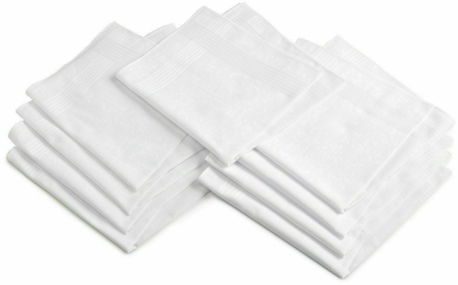 HANDKERCHIEF COTTON PLAIN WHITE PURE SOFT FOR MEN FROM INDIA - F/S