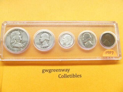 1957 Silver Birth year set 5 coins other years also FREE SHIPPING