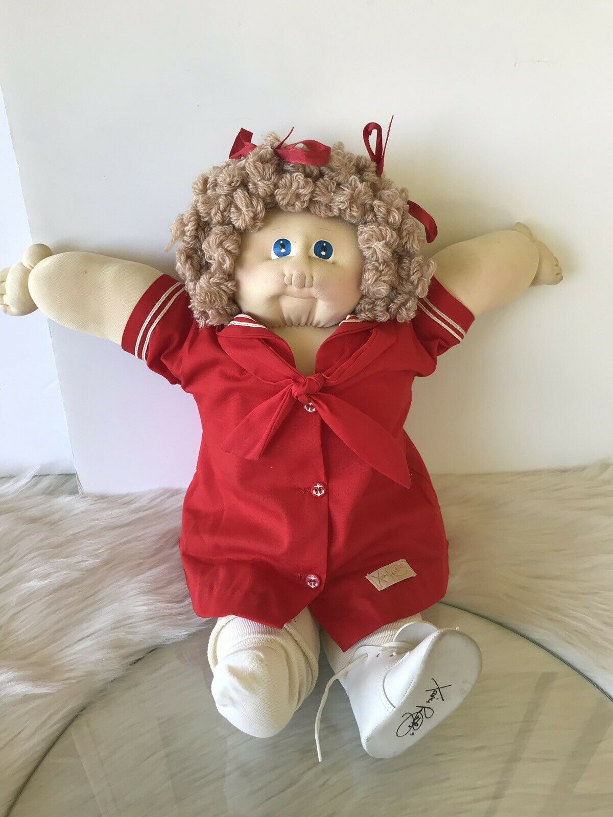 1985 Xavier Roberts Signed Little People Soft Sculpture Blau Eyes Curly Hair