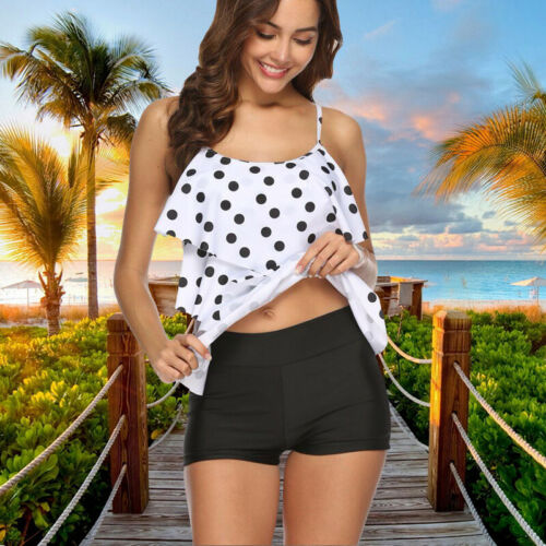 Damen Tankini Set Sommer Bikini Zweiteilig Push Up Bademode Badeanzug Sommer