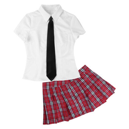 Femme Scolaire Uniforme École Déguisements Chemise avec Jupe et Cravate Ensemble