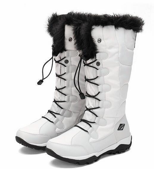 Resistente a la nieve Alta Top para Mujer Cálido Terciopelo Formal Zapatos botas Impermeable De Viaje