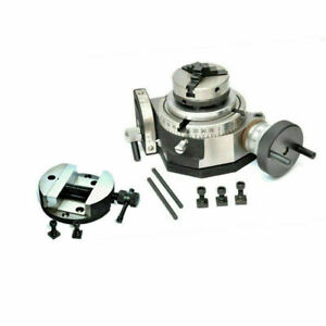 Tilting Rotary Table 100 mm With 65 mm Lathe Self Centering Mini Scroll Chuck