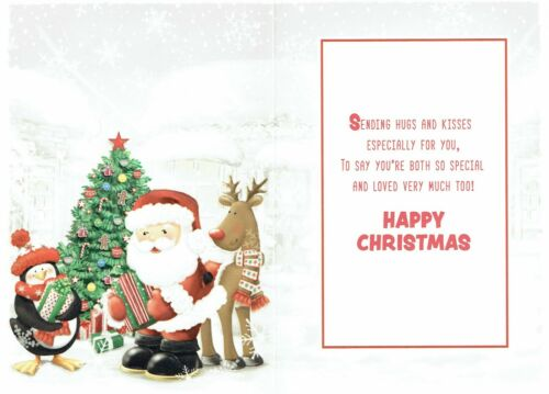 Special MUMMY AND DADDDY Quality CHRISTMAS Card Santa Penguin Reindeer Design