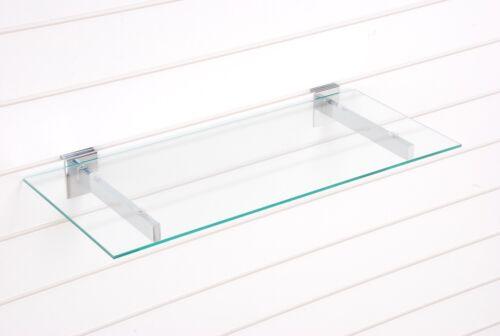 10 X 600mm x 250mm x 5mm SAFETY GLASS SHELF WITH  SLATWALL SLOT WALL BRACKET