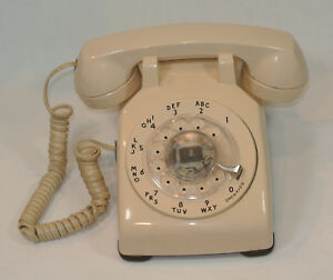 Vintage-Western-Electric-BEIGE-Rotary-Dial-TELEPHONE-Bell-System-500-Works