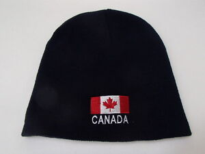 e4514b99993 Image is loading Canada-Canadian-Flag-Embroidered-Navy-Knit-Beanie-Hat