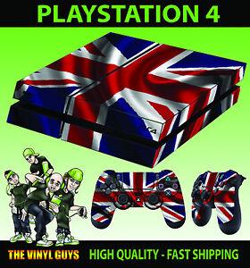 PS4-Skin-Union-Jack-British-Flag-New-Look-Wavy-Sticker-Pad-decals-Vinyl-LAID