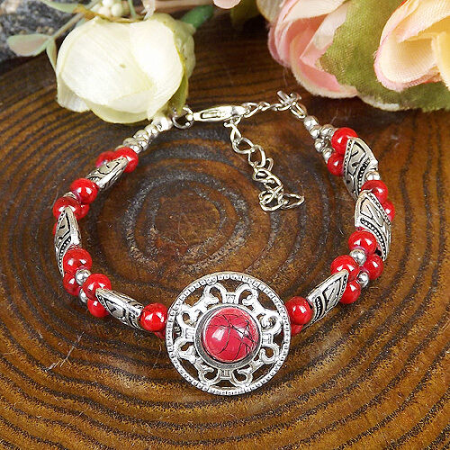 HOT Free shipping New Tibet silver red jade turquoise bead bracelet S79