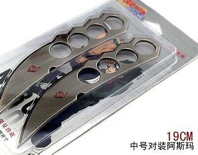 19cm 2pcs set anime Naruto Sarutobi Asuma Cosplay white Alloy sword Knife gift
