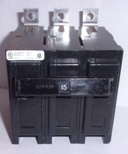 EATON CUTLER HAMMER  BAB3015H  3 POLE 15 AMP CIRCUIT BREAKER TYPE BA  NNB
