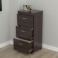 3 Drawer Lockable File Cabinet Modern Home Office Storage Organizer Dark Brown