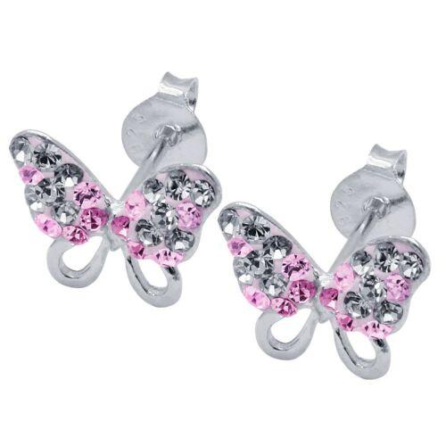 Schmetterlinge Ohrstecker echt 925 sterling Silber Straß Glitzer pink 2 St