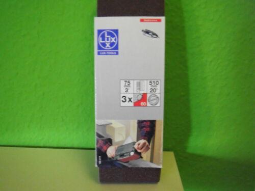 Bandschleifpapier   75 x 510 mm 40  Korn Black/&Decker  3 x 1Gewebeband LUX Tools