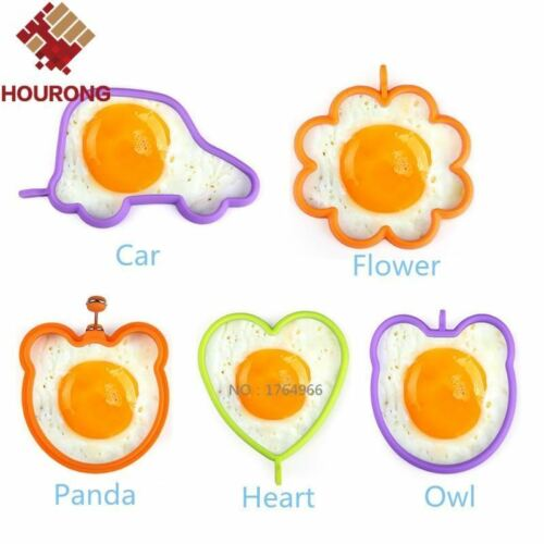 Hourong 1Pcs Silicone Egg Mold Fleur Coeur voiture Hibou Oeuf Crêpe Anneaux non