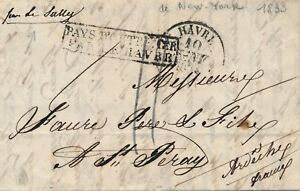 Lettre-New-York-United-State-Pays-D-039-Outre-Mer-par-le-Havre-Via-Sully-Cover-Brief