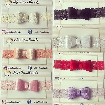Lot Velvet Bow Lace Bands Baby Girl Headband Toddler Hairband 6cm Soft Elastic