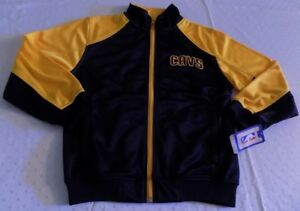 big sale 1fc5d 75e1c Details about Cleveland Cavaliers Track Jacket Youth Medium Navy Yellow  Embroidered Logos NBA