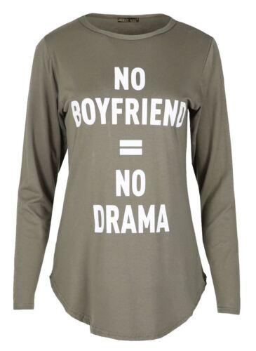 Da Donna Manica Lunga Slogan Stampa Orlo Curvo T-Shirt Top
