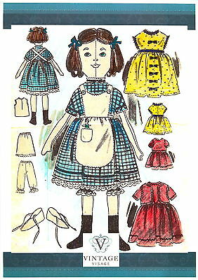 Victorian Rag Doll family sewing pattern-3 sizes,&clothes,full size paper pieces