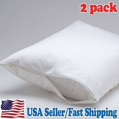 (BUY3 GET1 FREE) NEW STANDARD SIZE ZIPPERED MICROFIBER PILLOW PROTECTOR / 2 PACK