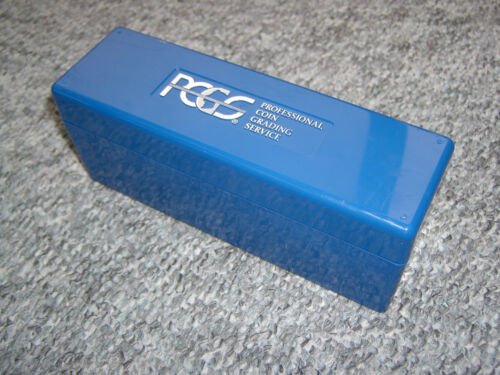 PCGS Blue Plastic Coin Slab Storage Box With Logo Lid Holds 20 FREE Shipping USA