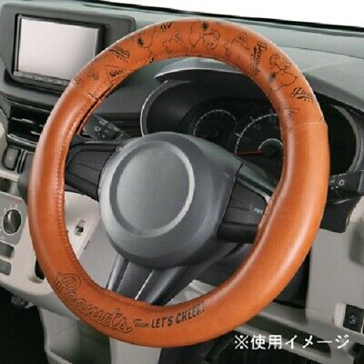 from Japan New Peanuts Snoopy car accessory steering wheel cover S White