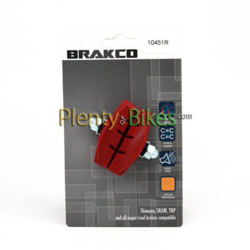 Red Brakco Road Bike Bicycle Fixed Gear Single Speed Hybrid Caliper Brake Pads