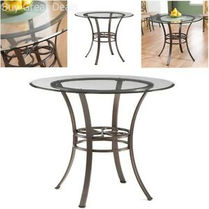 Modern-Round-Clear-Tempered-Glass-Top-Metal-Kitchen-Dining-Table-Brown-Finish