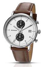 Sekonda Gents Multi Dial Watch Brown Leather Strap 1194