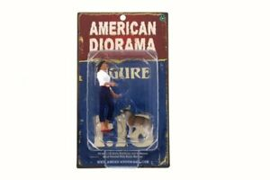 Woman and Dog, American Diorama 23890 - 1/18 Scale Hand Painted Figurine Set