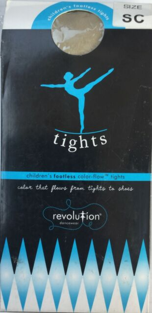 Kids Footless Dance Tights Revolution Dancewear Footless Color Flow Tan Sz Small