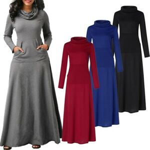 ZANZEA-Femme-Chaud-Decontracte-lache-Col-Haut-Manche-Longue-Robe-Maxi-Plisse
