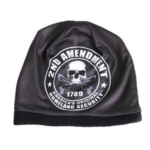 a9457c624cc 2nd Amendment Beanie Knit Cap Biker Patriot Skull Hat Ski NRA Gun ...